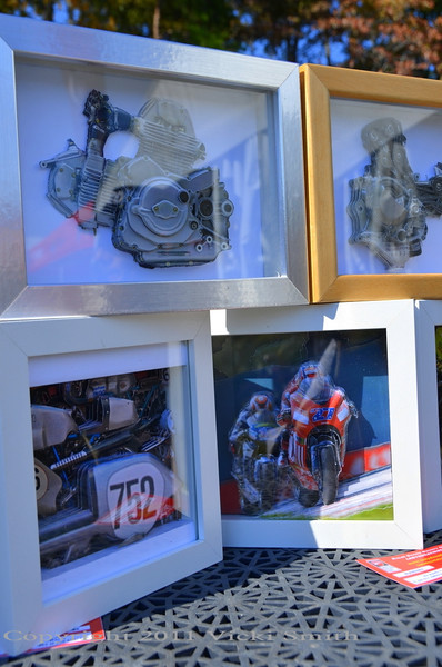 One of the things we wanted to attract to NCR Ducstock this year was artists, people who's passion for Ducati was expressed in creativity. These mixed media 3D shadowbox's were done by Silvio of Lady Ducati DOC who brought them from Italy to sell