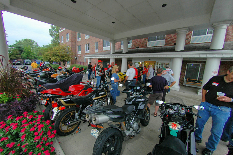 "Friday at 6pm - the eagerly awaited ""Project Mugello Friday Night Dinner and Bench Racing Soiree"" By now the rain had stopped and we were treated to a spectacular night.<br /> Indianapolis Chamber of Commerce Photo"