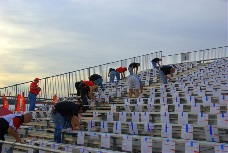 Next, a team of volunteers from all over the USA and Italy attach them to the seats