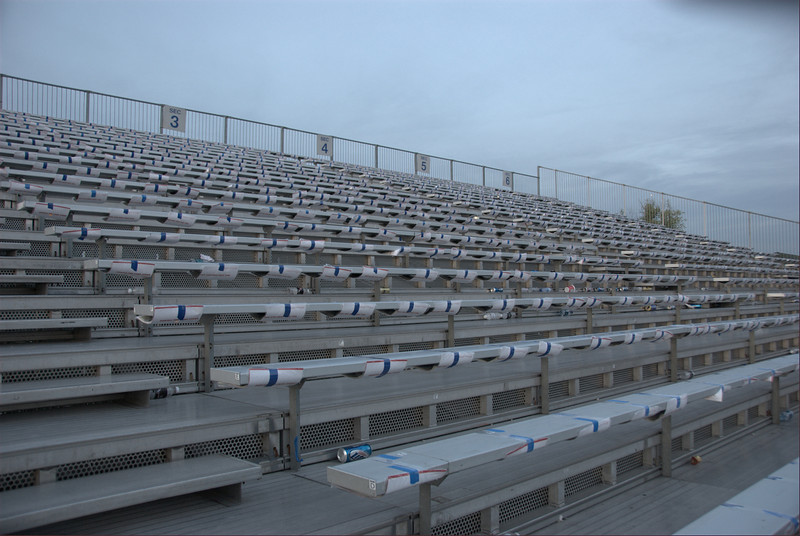 Finally, we double taped them to the grandstands. This isn't usually normal but Hurricane Ike loomed and this was our solution. It took till 8pm Sat night