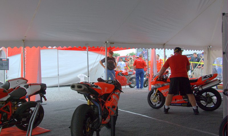 First order of business on Thursday is loading in the final round of the Ducati Superbike Concorso.  <br /> Speedway security is tight, we have two hours to receive, photograph and set up the 22 entries.