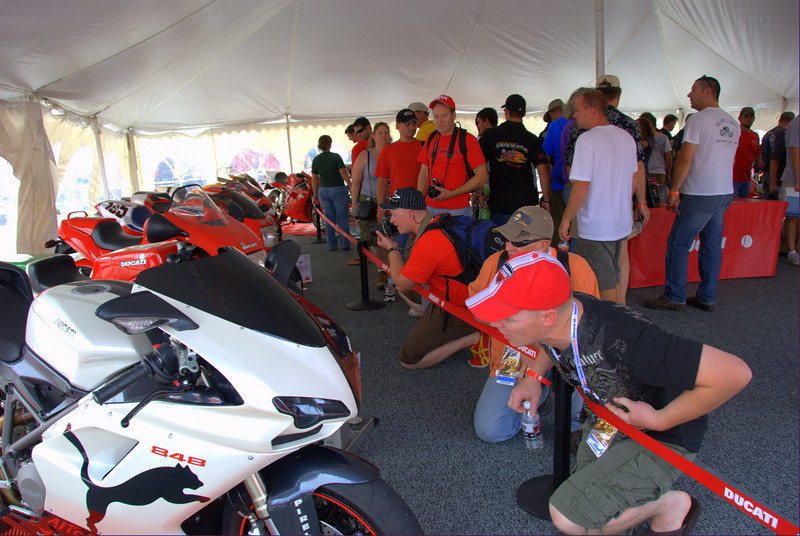 """Lots to see in the Superbike Concorso tent as well. The """"Puma"""" 848 in the foreground was a crowd favorite"""