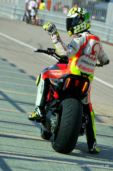 Andrea Iannone getting ready to drag race his Diavel