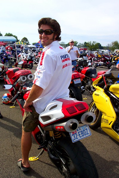 EBoz poses on the Ducati of a devoted fan - Check out that license plate.