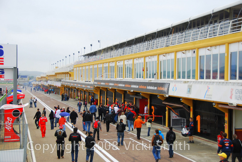 Pit Lane. Normally off limits Ducati has arranged for a group of Ducati Official Clubs Presidents to vist