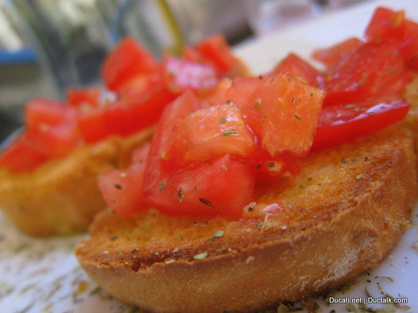 But first things first. We check into the hotel and head off in search of food. Tomatos in summer here are sublime. This is a photo of the best garlicky, salty, bruscetta I have ever had.  I may have licked the plate....