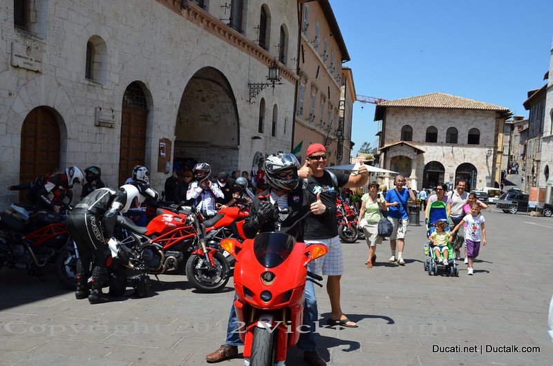 And off for a short ride to lunch.  The guy in the bandanna is a total stranger that, as it turns out lives less than an hour from me in Florida and we share a close, mutual friend who is, ironically, also a Ducati club President.