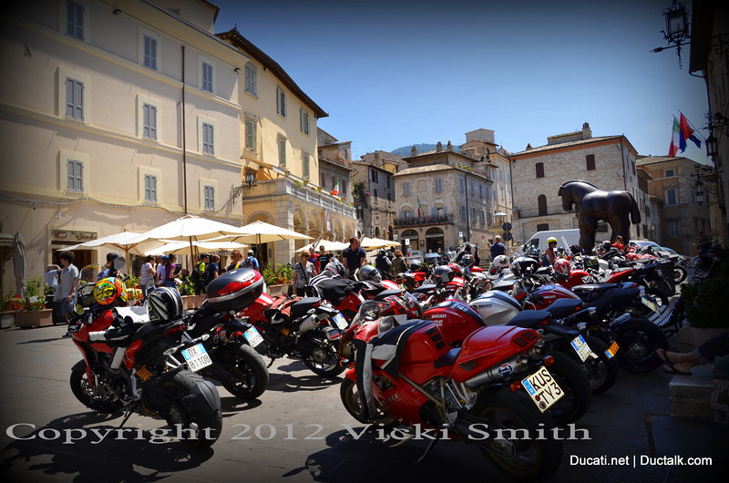 50 Ducati's and the giant 1999 Botero Bronze Horse. Art in the square.