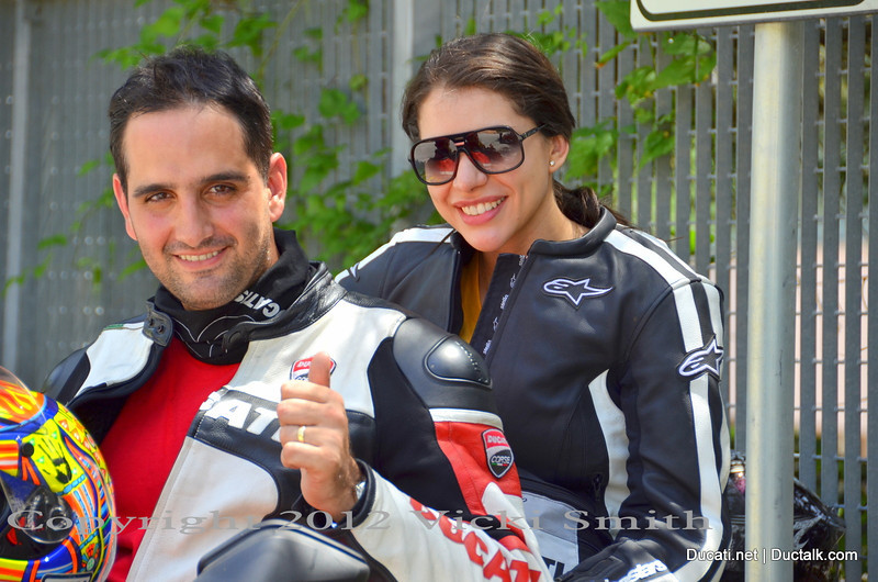 That's Jean Carlo and Jackeline.  The country where they live there is no Ducati dealer and they are the only club.  It's a challenge and a lot of the other Presidents had plenty of advice for them.  That's part of why Ducati does this, to create an environment that encourages this sort of valuable interaction