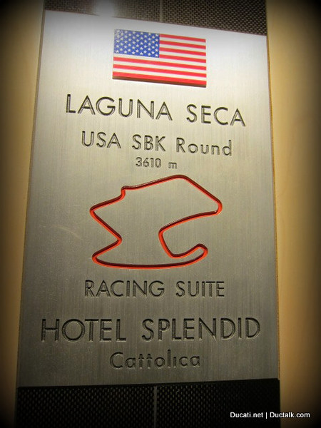 And the rooms on this floor are named after GP tracks. Now seriously, that's pretty darned cool....