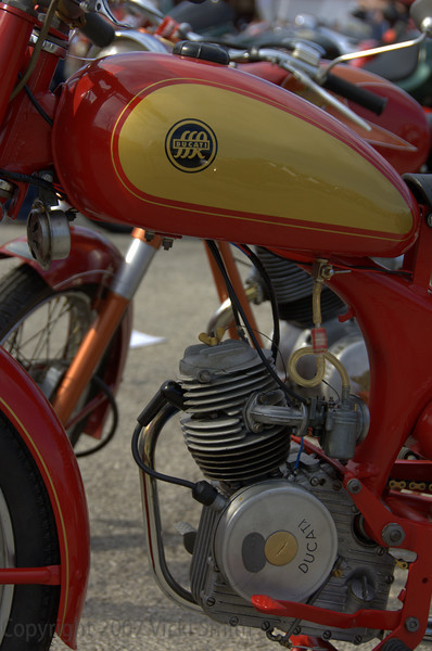 This little bike is a Ducati 65, it's probably about a 1951 model