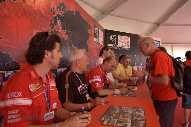 Back in the club tent the historical riders were having a signing session - that's Paolo Casoli closest to the camera