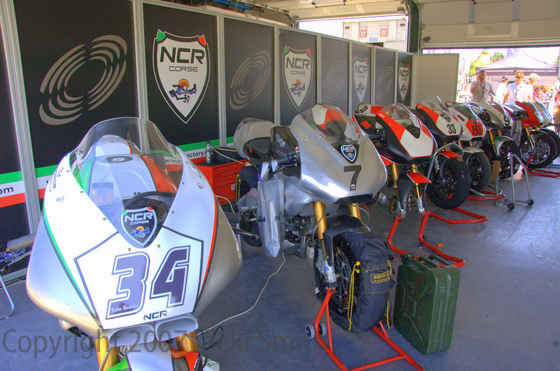 Along with the other festivities there was a full race schedule. That was new this year and a nice addition to the event. NCR had a number of customer Millonia's entered. Here they are all lined up, each bike had a gift bag attached for it's owner