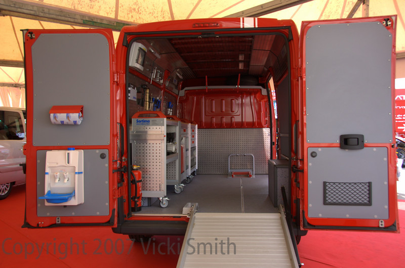 To this special Fiat Ducato, all done in Ducati red and ready to go