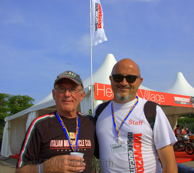 Paul Smart and Livio Lodi in front of the Heritage Village