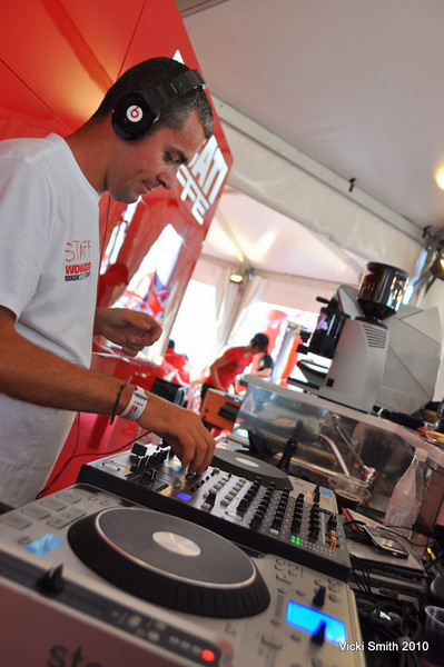 Andrea was spinning tunes in the Ducati Caffe