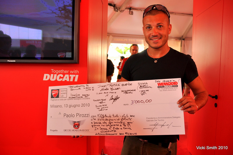 A little cash to help get Paolo around the world on his Multistrada 1200