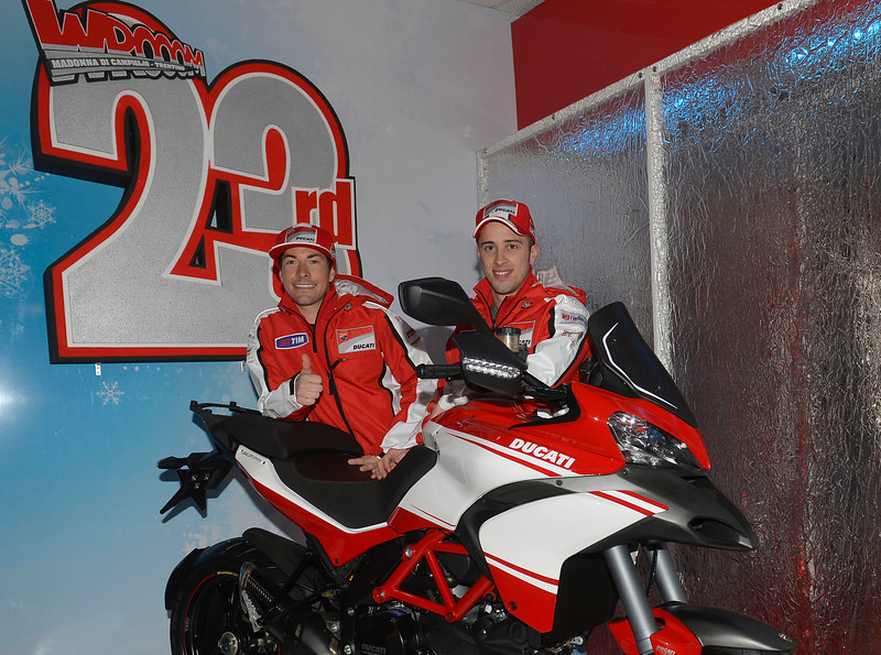 Nicky Hayden (left) and Andrea Dovizioso pose with the Ducati Multistrada 1200 Pikes Peak.