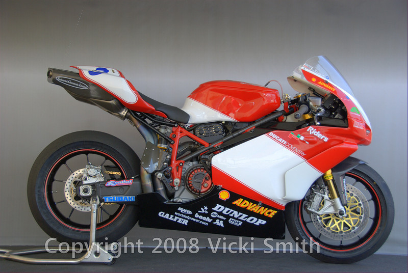 "And this 2005 749r as well:<br /> <br /> ""The JHP 749R was the No. 1 bike for Stuart Easton, campaigned in 2005 to 3rd place in the British Supersport series with three first places in the season, including first place at Croft while setting the British Supersport lap record, and also at Brands Hatch where it again set the lap record to complete a total of 10 podium finishes in 2005.Technical Specifications: Brakes: Standard Brembo master cylinders with Galfer disc rotors and pads, Forks: Standard Ohlins R/T units with K-Tech 20 mm cartridge kits, Shock: Ohlins race kit part with integral preload adjuster, Clutch: Bucci race (4 post/spring unit) with 996 SP sintered friction plates, Engine: Full Ducati factory race kit, Heads: JHP Gas Flowed, Engine Management & Data Logging: Magnetti Marelli, Exhaust: Termignoni 57 MM Titanium Full Race, Fairing/Seat: Full carbon complete kit including brackets, seat pad, etc, Chain: Tsubaki 520 race, Sprockets: Renthal, Titanium fasteners  throughout, Cooling: factory racing radiator and oil cooler, JHP Billet Sprocket Cover, JHP Vented Clutch Cover <br /> """