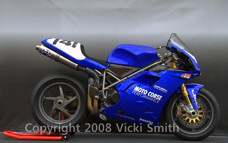 Chris Boy also brought this 2000 996RS. <br /> Ducati 996 rs built from spare parts sourced from factory SBK teams. Everypart on the bike is factory 996 rs.165 horsepower, 345 pounds, equipment includes 60 mm six injector throttle bodies, extremely large 57 mm termignoni exhaust and much magnesium, titanium and carbon fiber.
