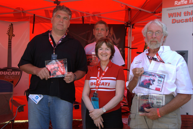 Ducati-Roc was the clear winner this round in the ongoing DOC contest for which club has the best showing over 5 rounds of the Superbike Concorso contest. Three winners in one round! From left, Ed Vanaman, Tom Perko, Vicki Smith, Tom Beasley