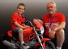 That's Danny Carson and grandson DJ.  DJ proudly wheeled his little Ducati Monster into the Superbike Concorso tent and asked where he should park it. I know Monsters aren't included, but he's a force of nature.  It turned out to be a pretty popular addition to the lineup