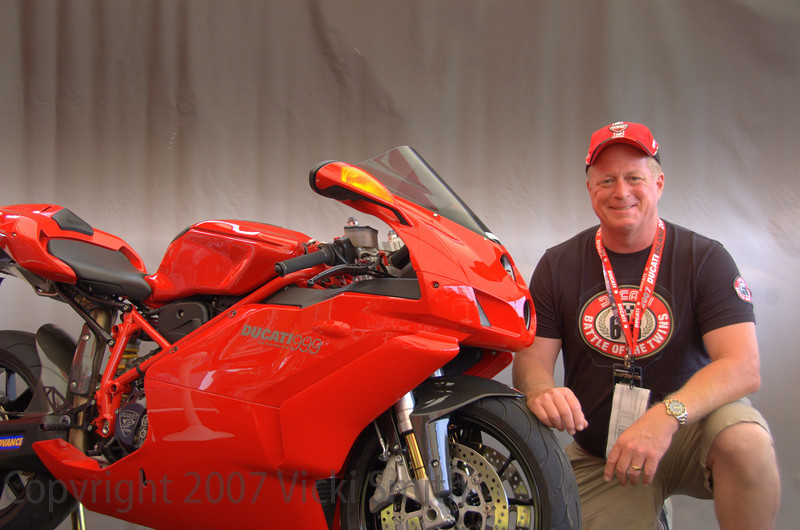Jack Curry brought this 2005 999 from Harvey, LA.<br /> Here's the bike card:<br /> <br /> Ducati 999 Monoposto  modified as racing throttle,power commander with a custom map,termignoni slip on exhaust system with ECU, carbon fiber front fender. rear hugger and exhaust cover. Acculign rear-sets, Double bubble biondi wind screen. 520 DID chain & sprocket set . Ducati corsre vented clutch cover.Ducati performance gas cap, Yoyo-dyne clutch slave cylinder. Moto wheels internal frame sliders. CRG clutch and brake levers with racing gribs (THIS IS ONE AWSOME DUC).