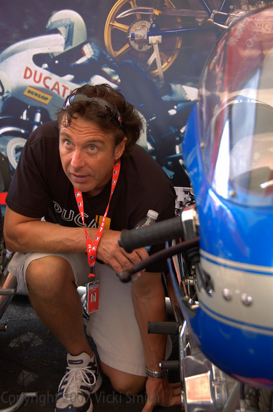 Judging is a complicated process and goes on all weekend.  Here Ducati Superbike Concorso judge Jeff Nash takes a closer look
