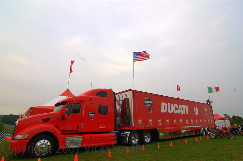 "That's the ""Duc Truck"". If a Ducati owner see's that at the races there's a great chance he's getting a free lunch. At Road Atlanta it's the home of the Ducati Superbike Concorso and enjoys the best view Road Atlanta has to offer."
