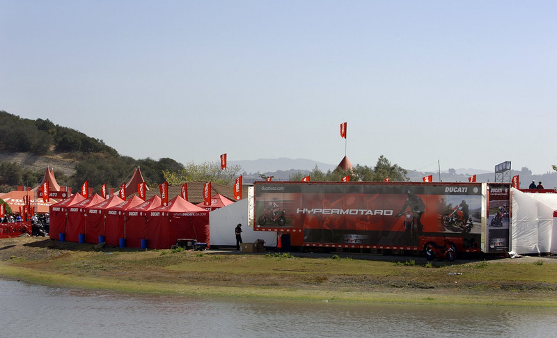 It's all in the perspective. The view of Ducati Island from the water makes it look deceptively peaceful.