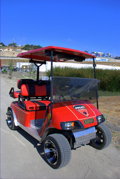 He seems to inspire the spirit of dedication that Ducatisti are famous for, to a whole new level. This is Ducati Dave's golf cart.  He brings it to the races at his own expense. It's really, really cool.