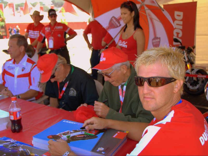 That's Doug Polen, Cook Neilson, Phil Schilling and Larry Pegram, representing the US side of Ducati racing