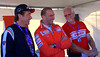 That's Ducati Corse Team Manager Livio Suppo with Jeff Nash and Danny Carson, watching the crowd's antics when Casey Stoner appears