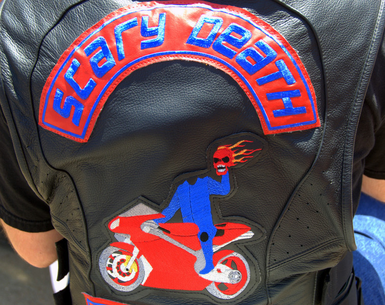 "But this one was hard to top. This guy is a member of the ""Scary Death Motorcycle Club"""