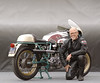 """Keith Hale and his 1974 750 Super Sport. In Keith's words:<br /> Ducati built 410 750 Super Sports in 1974 to commemorate Paul Smart's and Bruno Spaggiari's upset one-two victory at Imola in 1972. My bike is one of 88 that were imported into the United States. I purchased this bike new in April of 1975. I've used it as a club racer, a touring machine and for many, many years as my daily rider. I do my own maintenance and, over the years, I've made a few modifications for racing and to keep it on the road but, except for a repaint in 2001 and an aluminum fuel tank this year, the bike is mostly original.  In May, 2002, Cycle World magazine featured my bike as the """"100,000 Mile Duck"""". It was also included in """"The Seven Wonders of Motorcycles"""" on the Discovery Channel in 2004. I now have a more modern Ducati as my daily rider but I love this bike and still ride it regularly."""