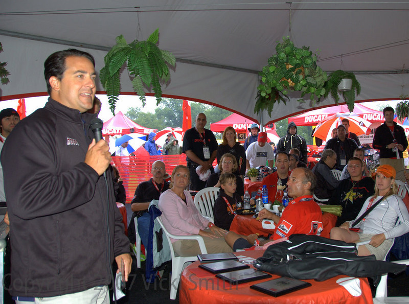 The finals were held in the Ducati hospitality tent with Speedvision's Ralph Shaheen and Larry Pegram presenting