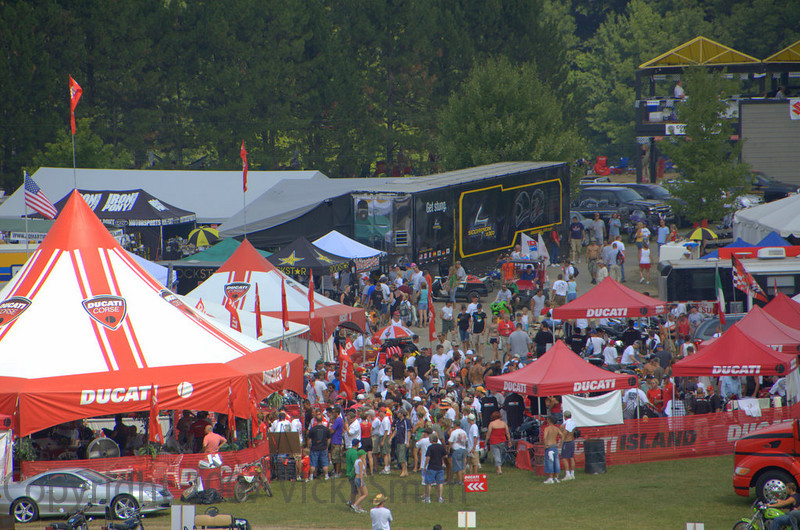 Mid Ohio Ducati Island opened on Friday to a bustle of activity with lots to do and see in the cluster of tents and displays.