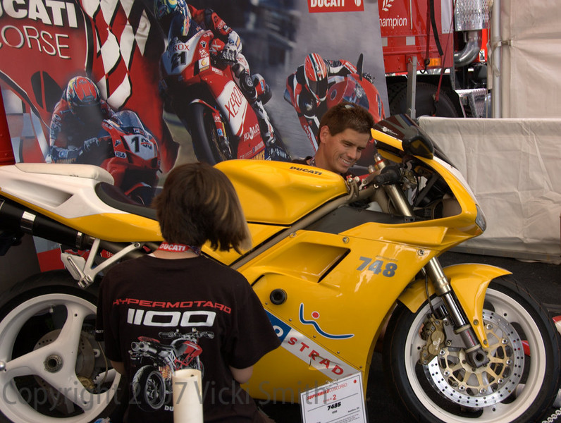 Johnny Cole brought his 1999 748S to Mid Ohio as a family affair.  His daughter (near with her back to the lens) is a budding Ducatisti. She just got her motorcycle license and has a serious eye on Dad's bike already. John uses this bike as both a daily rider AND a WERA racebike on weekends.