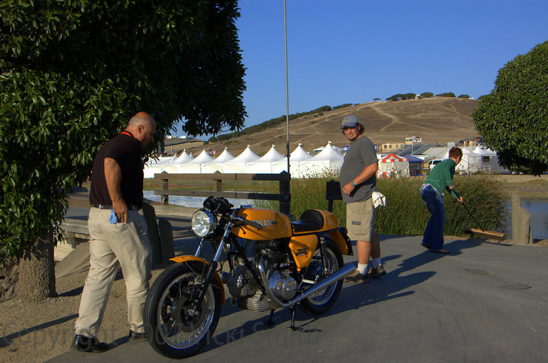 That's Brian J Nelson taking photos of all the entrants bikes. Here he is setting up the shot of Peter Calles Sport
