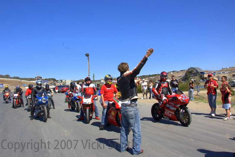 Time to go. That's Alex Dunstan of Ducati North America, my Hypermotard driving chauffeur for the upcoming track ride.