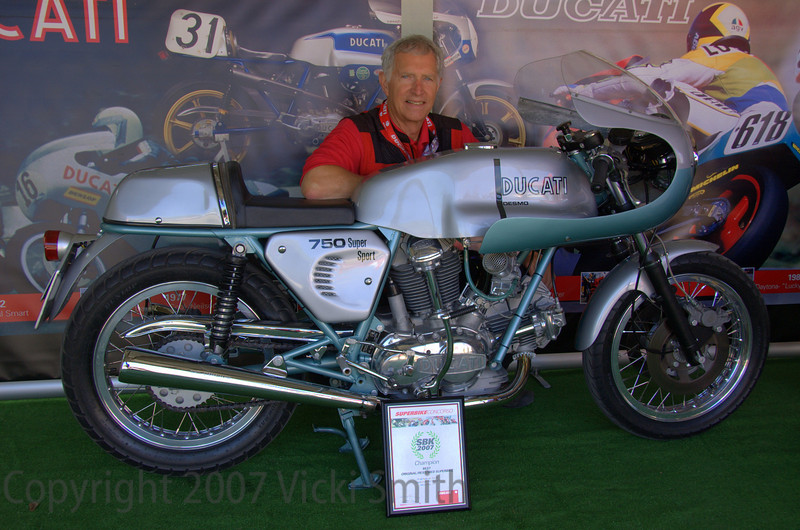 Robin Lawrence and his newly crowned Best Original/Restored Ducati Superbike