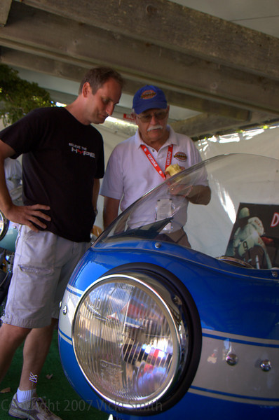 While Rich Lambrechts and Brian Slark take advantage of a quiet Concorso tent to do a little judging
