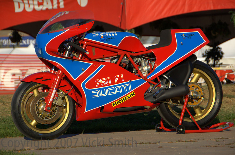 Lou Saif's TT1. The only Pantah in the finals, it bridges the gap between the old and the new. A bare bones factory built racer, it's place in Ducati history is secure. With the introduction of the TT's began the string of victories that leads straight to Casey Stoner's success this season.