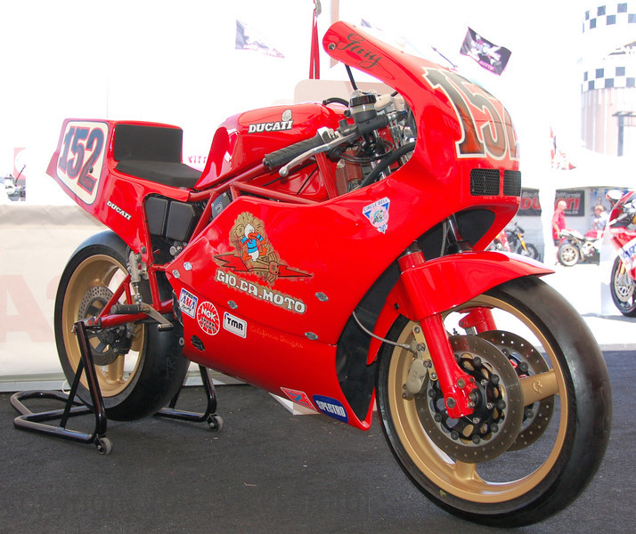 "That's Gary Patton's 1986 Ducati F1. This bike has lots of documented racing history. It's perfectly ""period correct"" and beautifully preserved, amazing given it's miles on the track. Combine with this the fact that it's exhaust note was about as good as it gets, you begin to see how tough the judging really was."