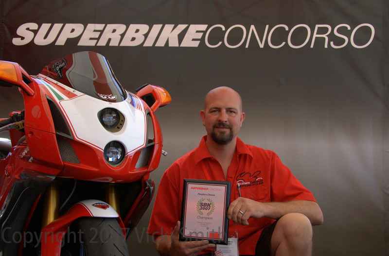 That's the People's Choice winner Mark McKinsey. Mark works at SoCal Ducati and spent the weekend treking back and forth between the shop booth and his bike on display