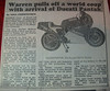 Article about this bike, kindly sent to us by former owner Stephen Lynch (Thanks again Stephen!)