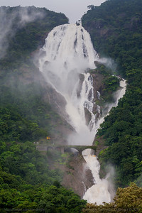 Dudhsagar waterfall on the border of Goa and Karnataka in India are four tiered waterfalls resembling a cascading fall of milk.