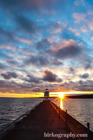 An amazing sunset at the lighthouse in Two Harbors, MN