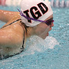 Groton Dunstable swimmer sophomore Kirsten Sjoberg doers the butterfly stroke as she competes Thursday Meet against Westford Academy. SUN/JOHN LOVE