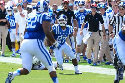 DeVon Edwards returning the interception / Duke Blue Devils / Photo by Chris Summerville